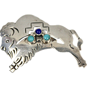 Signed E. Willie Sterling Navajo Pierced Blue Turquoise & Lapis Lazuli Buffalo Brooch Pin