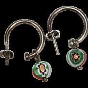 Designer Signed Sterling Silver Italian Millefiore Glass Bead Dangle Earrings