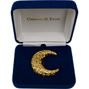 Camrose & Kross Jacqueline Kennedy Crescent Moon Goldtone Brooch/Pin in Original Box