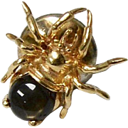 14K Gold Topaz Brown Spinel Spider Tie Tack Pin
