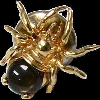 14K Gold Topaz Brown Spinel Spider Tie Tack Pin