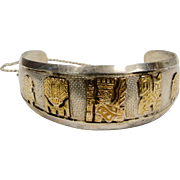 18K Gold & Sterling Silver Peruvian Deity Cuff Bracelet
