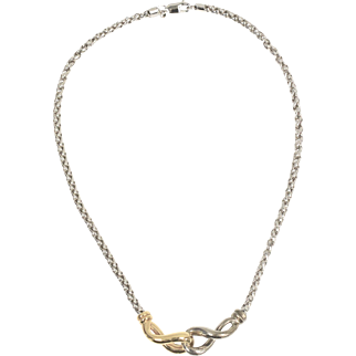 Signed 14K Gold & Sterling Silver Eternity Curved Pendant Necklace
