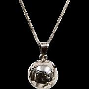Sterling Silver 3D World Globe Chime Pendant