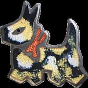 Signed Jeronimo Fuentes Sterling Silver Black & Gold Enamel Scottie Dog Pin