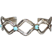 Sterling Silver & Turquoise Curvilinear Cuff Bracelet