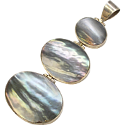 "Huge 3.5"" Sterling Silver & Abalone Shell Pendant"