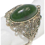 Sterling Silver Spinach Green Jade Filigree Oval Ring