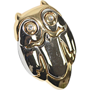 Liz Claiborne Signed Rhinestone Two Tone Modernist Style Owl Brooch/Pin