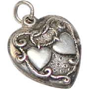 1930s Walter Lampl Signed Sterling Silver Double Heart Charm/Pendant