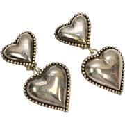 Large Silver-plated Double Heart Dangle Clip Earrings