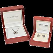 Sterling Silver Hot Diamonds Heart Pendant Necklace & Pierced Stud Earrings