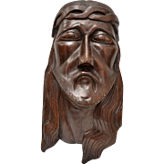 """Large & Heavy """"Jesus Christ"""" Solid Wood Wall Art Sculpture"""