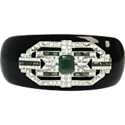 Art Deco Inspired Black & Green Lucite with Clear Rhinestones Cuff Bracelet