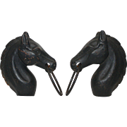 Pair of Rustic Black Iron Art Deco Hitching Post Horse Heads