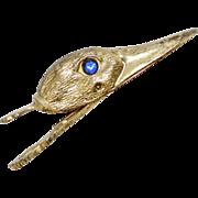 SRG Signed Blue Rhinestone Eye Large Brass Figural Duck Clip