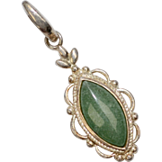 Sterling Silver Green Aventurine Navette Stone w/ Decorative Border Pendant