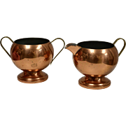 Copper by Rosemar USA 2-Pc Copper / Brass Open Sugar & Creamer Set
