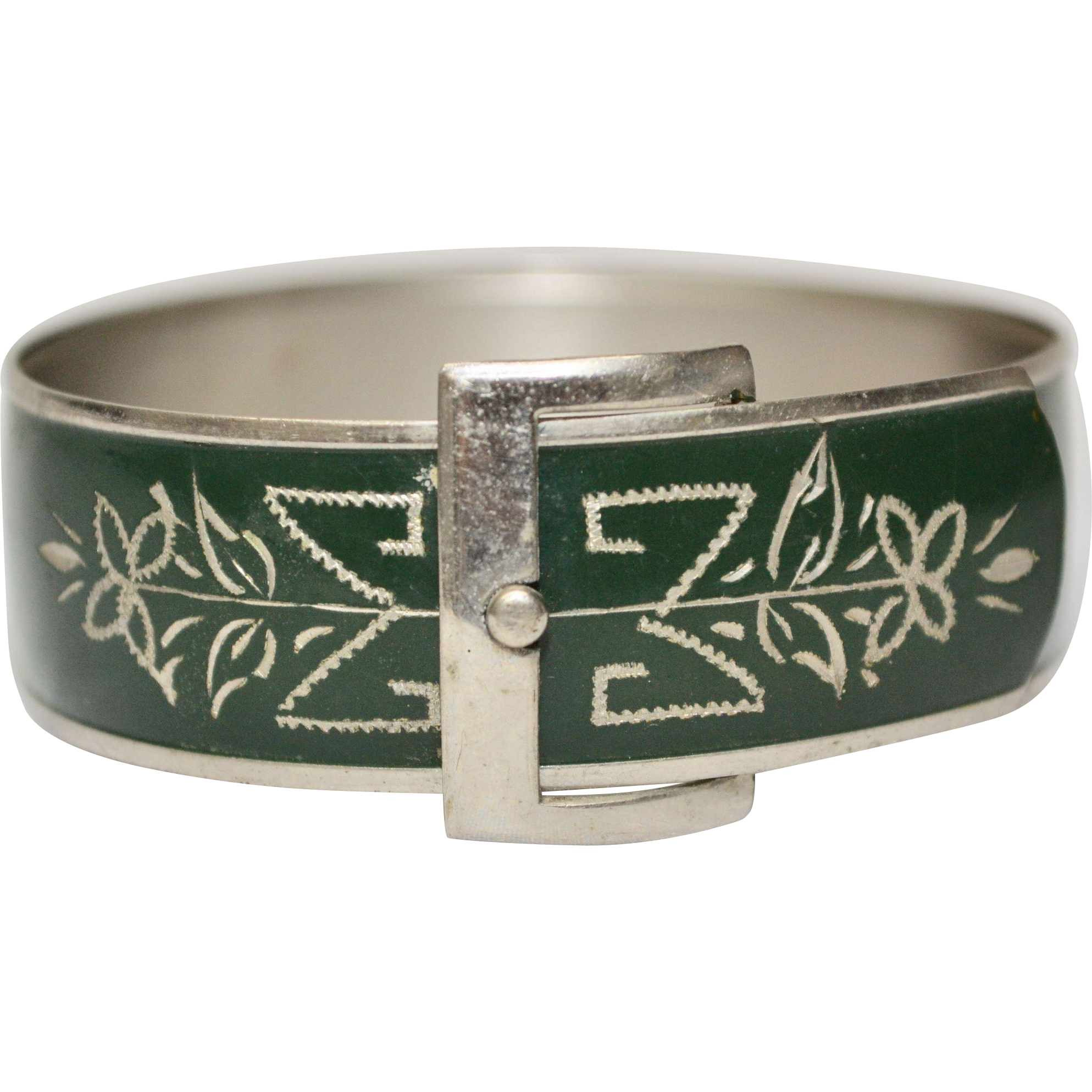 Victorian Style Etched Green Enamel Silvertone Buckle Bangle