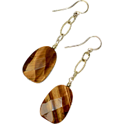Long Sterling Silver Tiger Eye Stone Dangle Earrings
