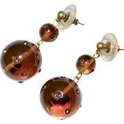 Large Brown Topaz Double Ball Rhinestone Bead Dangle Pierced Earrings
