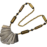 1970s Horn & Brass Ethnic Style Statement Necklace