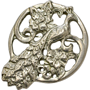 Art Nouveau Style Peacock Pewter Pin/Brooch