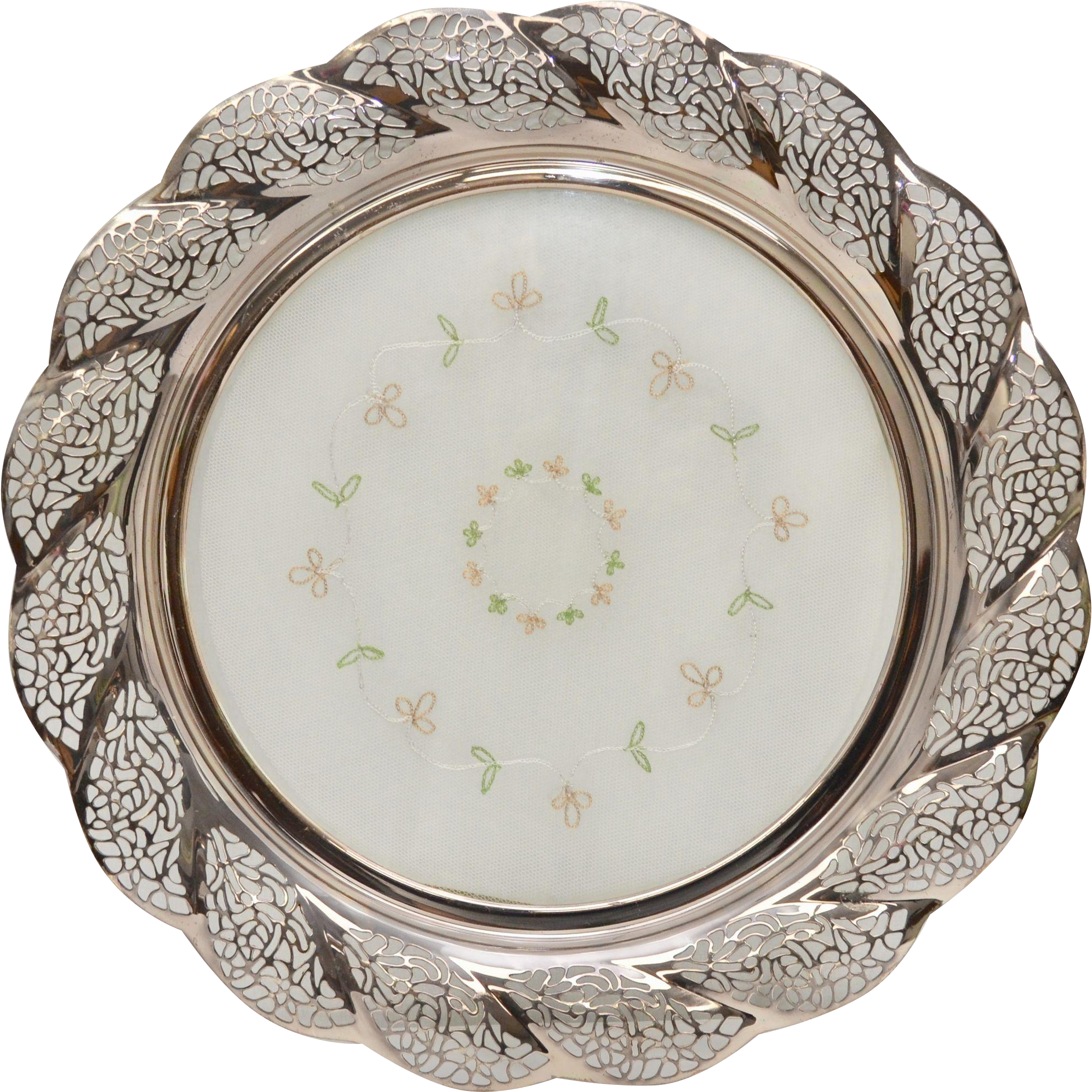Large German Silverplate Filigree Cake Plate W Removable