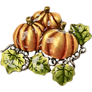 Large Enamel Pumpkin Patch Halloween/Fall Theme Brooch/Pin