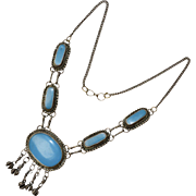 Etruscan Style Coin Silver Turquoise Blue Glass Pendant Necklace