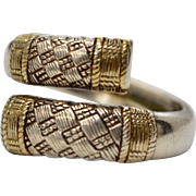 Wallace Sterling Silver Aegean Weave Gold Accent Bypass Ring