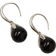 Italian Sterling Silver Black Onyx Drop Dangle Earrings