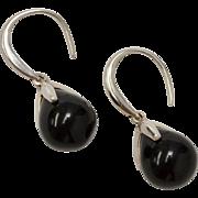 Italian Sterling Silver Black Onyx Drop Dangle Earrings