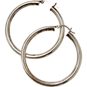 Large Sterling Silver Tubular Hoop Earrings