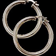 Large Sterling Silver Tubular Hoop Earrings