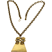 Alva Museum Replicas Brass Goldtone Aztec Style Pendant Necklace