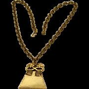 Alva Museum Replicas Brass Goldtone Aztec Style Pendant Necklace