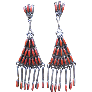 Zuni Earrings-Great Coral Stones  FREE SHIPPING!