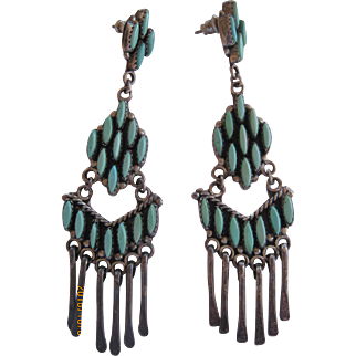 Zuni Earrings-Vintage from the 1970's FREE SHIPPING