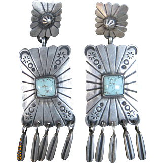 Navajo Earrings with Dry Creek Turquoise