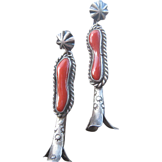 Navajo Coral Earrings from Old Squash Blossom Necklace