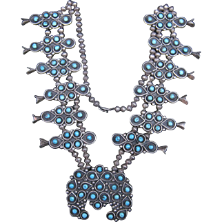 Vintage Zuni Squash Blossom Necklace-Spring Squash Blossom Sale-DRASTICALLY REDUCED!