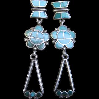 Vintage Zuni Earrings-Disth Style