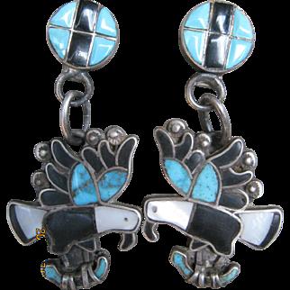 Vintage Zuni Eagle Earrings