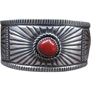 Sterling Silver Cuff with Coral