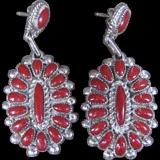 Zuni Lorraine Waatsa Coral Earrings