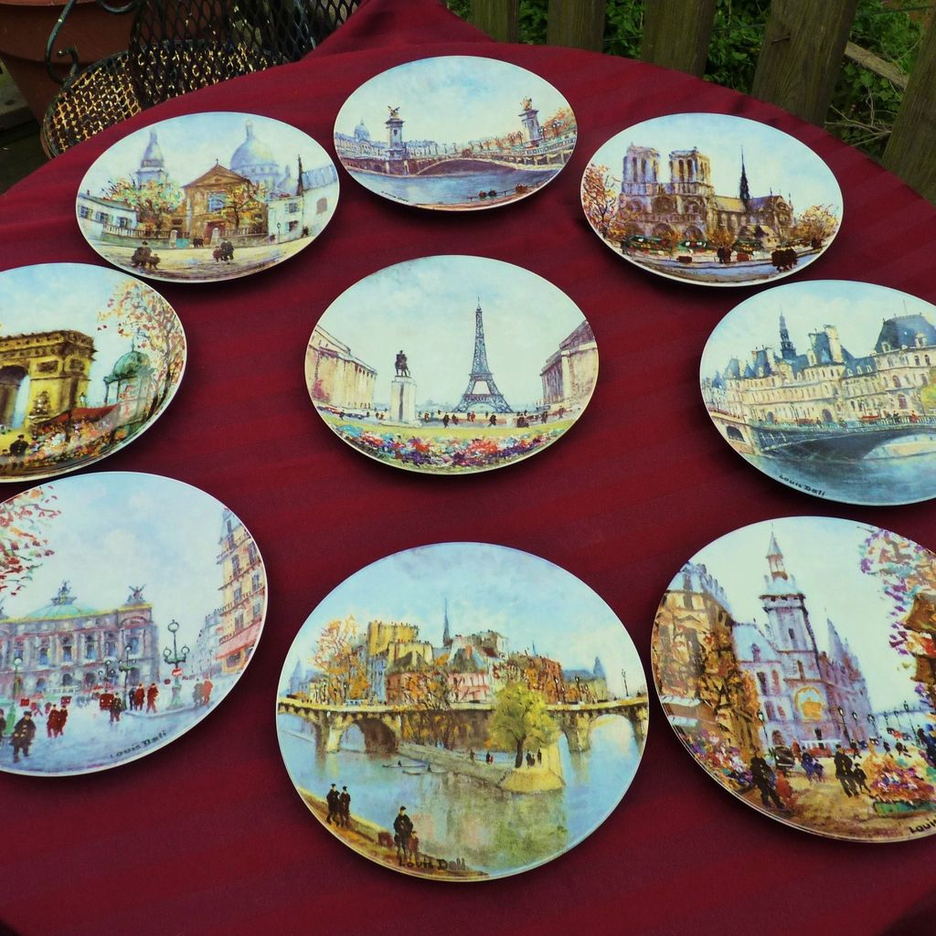& Paris Scene Plates by Artist Louis Dali : Manderly Estates | Ruby Lane