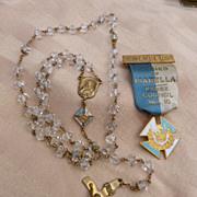 Ladies of Isabella Cut Glass Rosary and Member Badge
