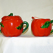 Vintage Creamer and Sugar Bowl Tomatoes