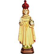 Chalk Infant of Prague with Flocked Garments